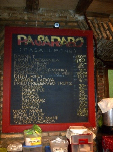 Chalk menu board..