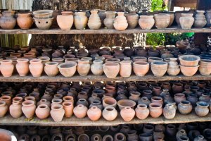 Pots neatly arranged..