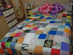 The first quilted bedsheet I've made for myself! I sew them by hand and not by a sewing machine!