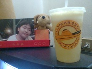 Sombrero has smoothies too which I take tons of! It's healthy and a good combination with spicy food! Behind is a picture of my son, I miss him terribly! The puppy beside him is Pocholo! (--,)