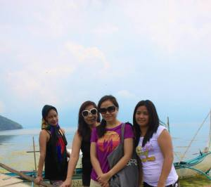 With the girls...