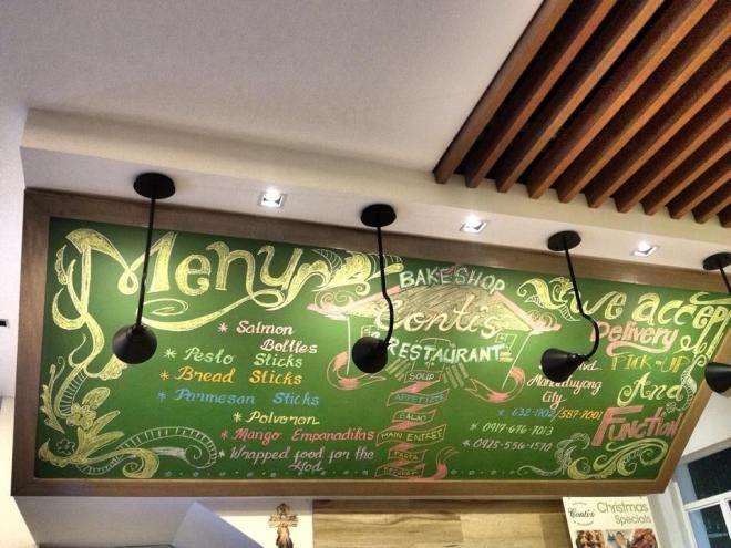 menu chalk board contis