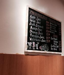 Chalk written menu boards.