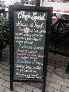 I am always amazed with chalk written menu boards..