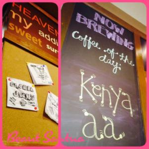 Chalk-written menu boards and clipping from happy guests! =)