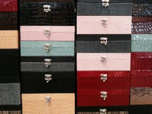 Jewelry boxes in all sizes and colors...