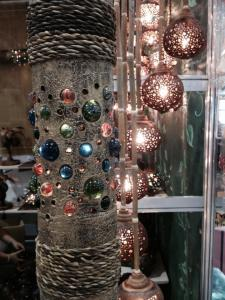 """Holen"" or marbles on this trunk as Christmas decor.."