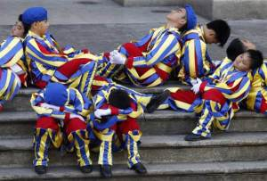 Children as Swiss guards fell asleep while waiting for the Pope... It was heart-breaking.