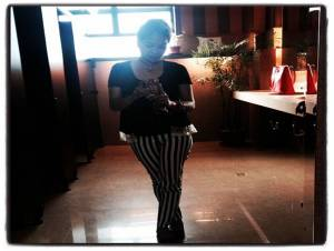 On my favorite striped pants..
