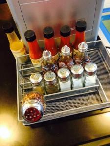 Generous supply condiments...