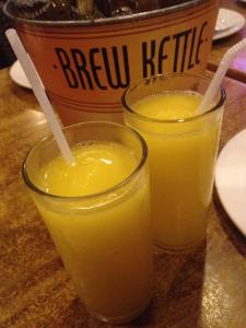 Everyone's drinking beer. But me and my son opted for fresh mango juice..=)