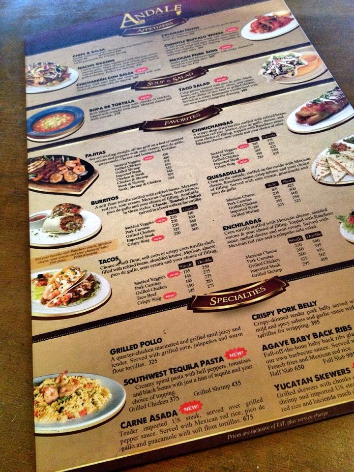 andale menu