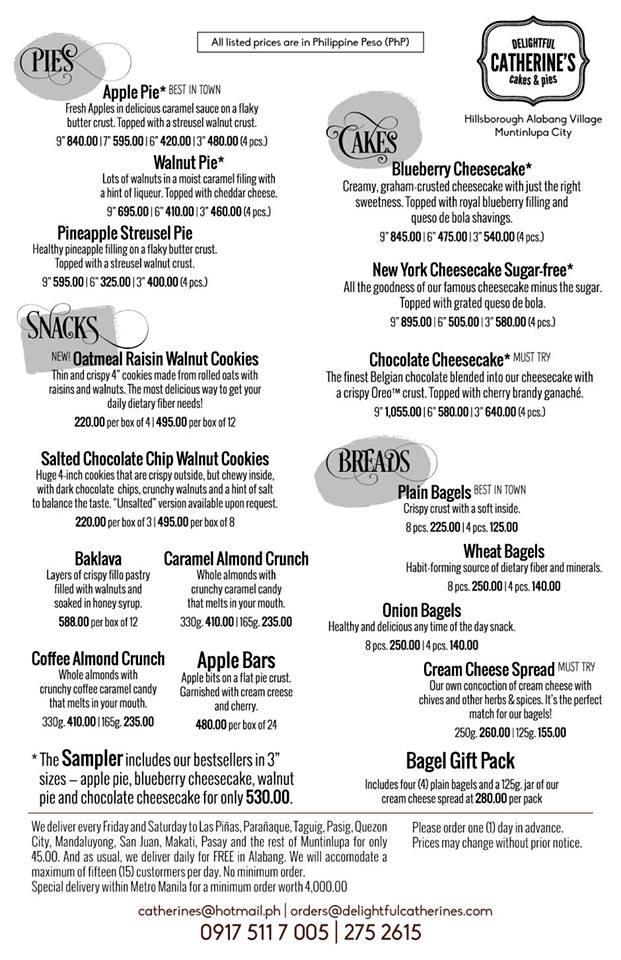 menu price list