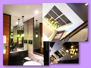 Noticed their lighting fixtures? They're made of used wine bottles..=)