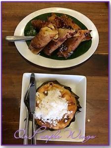 Two old-time favorites: Turon and bibingka..